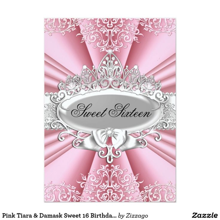 Pink Tiara & Damask Sweet 16 Birthday Party CardSweet sixteen, sweet 16, 16th Birthday Party invitation. Pretty tiara & damask. Please note: All flat images, they do not have real jewels or bows! Customize with your own details and age. Template for Sweet 16, 16th, Quinceanera 15th, 18th, 20th, 21st, 30th, 40th, 50th, 60th, 70th, 80th, 90, 100th, Fabulous product for Women, Girls, Zizzago created this design PLEASE NOTE all flat images! They Do NOT have real Glitter, Diamonds Jewels or real Bow