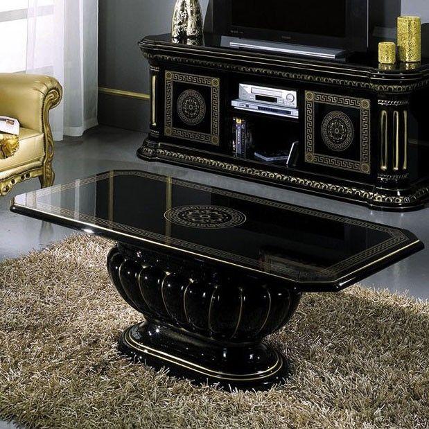 Table basse noir laqué et ornements dorés design NADEGE