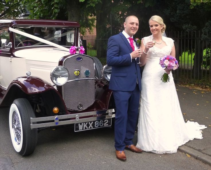 "Michelle and Chris enjoying a ""toast"" prior to a drive around Nuneaton to their reception venue of the Ambleside Sports Club. Congratulations from Married in Style!"
