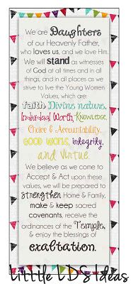 Little LDS Ideas: Young Women Theme Bookmarks