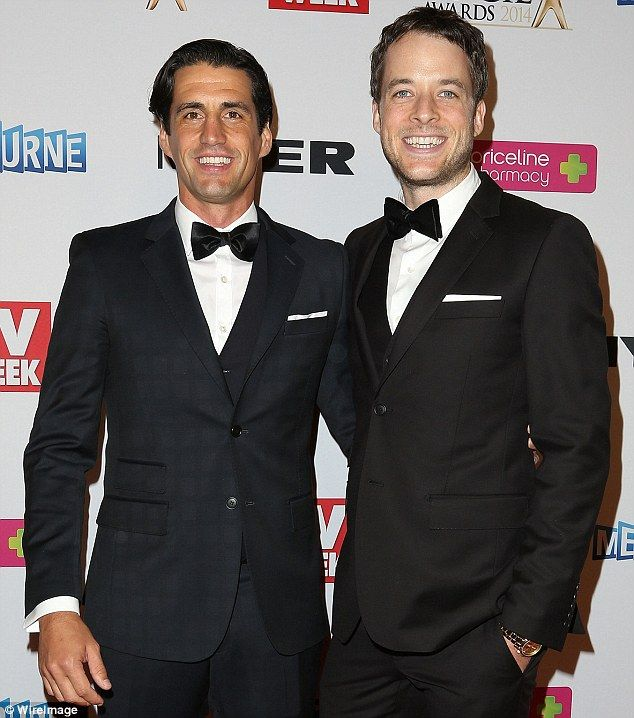 The perfect bachelor: Andy Lee (left) pictured at the Logie Awards with Hamish Blake (righ...