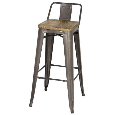 Metropolis Low Back Metal Bar Stool With Wood Seat Set Of 4