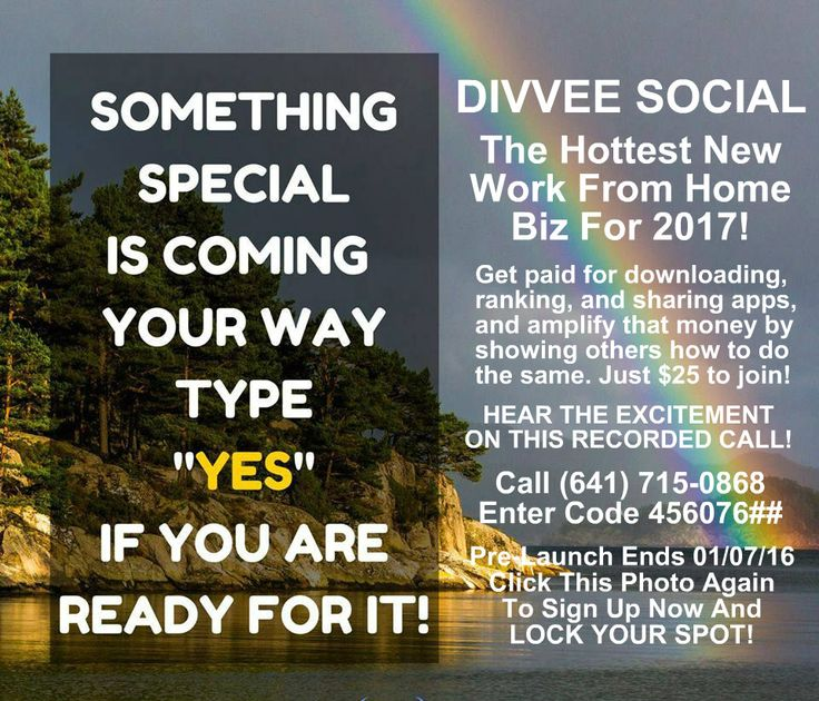 Top Rated Best Work From Home Business Opportunity For 2017. Divvee Social is the hot new global biz that pays you to download, rank, and share apps, and amplifies that pay by showing others how to do the same. It's just $25 to get started and there are no monthly fees! Pre-launch ends 01/07/16 and we go live 01/10/16 so LOCK YOUR SPOT today!
