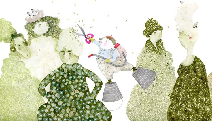 """Agnes Keszeg illustration for """"It's the Rustling Leaves"""", by Máté Angi."""