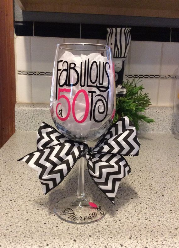 50th Birthday Wine Glass by JudysJewelsandMore on Etsy
