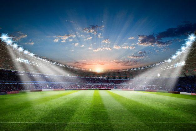 Football Stadium 3d Rendering Soccer Stadium With Crowded Field Arena Soccer Stadium Soccer Football Stadiums