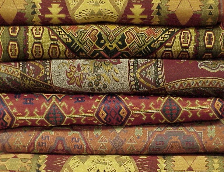 Tribal Gold and Red Colors Damasco Tablecloth