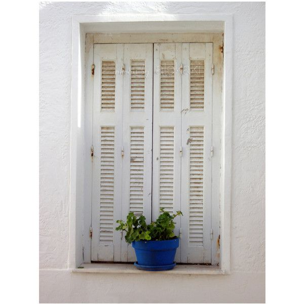 The window - white shutters - Greek islands photo - travel photography... (62 BRL) ❤ liked on Polyvore featuring home, home decor, window treatments, backgrounds, white window coverings, white window shutters, mediterranean home decor, white home accessories and white flower pots