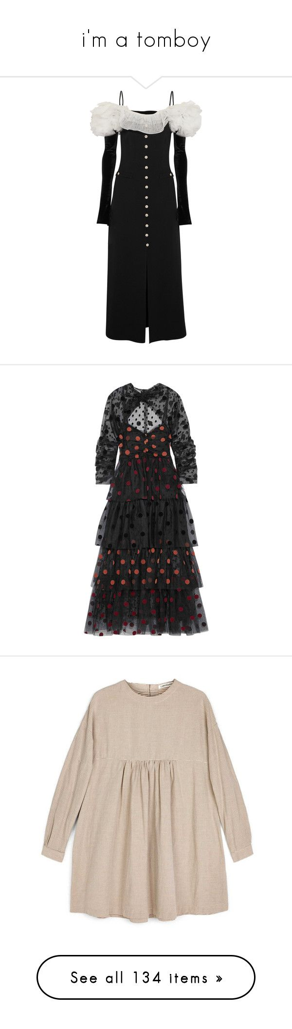 """""""i'm a tomboy"""" by eotirka ❤ liked on Polyvore featuring dresses, gowns, off shoulder gowns, white ball gowns, white off the shoulder dress, white evening dresses, off-the-shoulder dresses, tulle cocktail dress, polka dot cocktail dress and calf length dresses"""