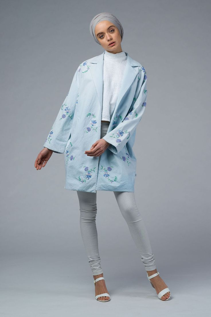 Women Hand Embroidered Cocoon Blue Coat with Step Collar – Imaima
