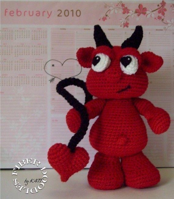 Lu the Amigurumi Valentine Devil