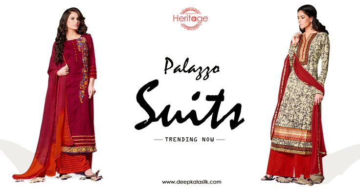 We are here to give you tips on outfits trending in 2016! These #Palazzosuits are 2016 must have #dressup. #DeepkalaSilkHeritage #TrendingNow