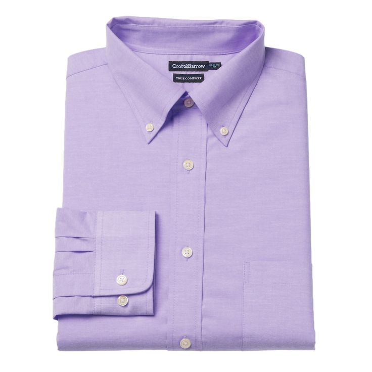 Men's Croft & Barrow® True Comfort Fitted Oxford Stretch Dress Shirt, Size: 16.5-32/33, Med Purple