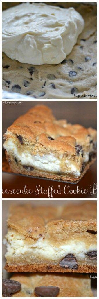 Cheesecake Stuffed Cookie Bars - Hugs and Cookies XOXO