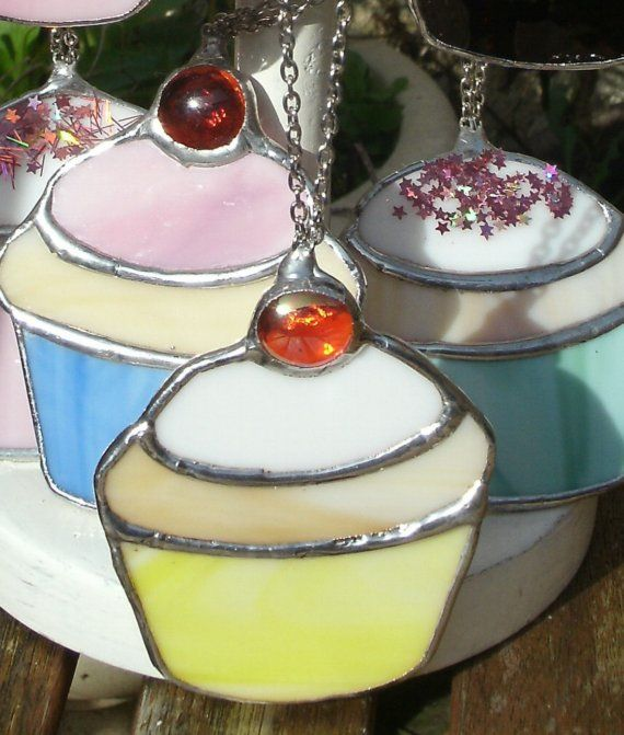 A colourful stainedglass Cupcake suncatcher by helenlloydhoare, $14.00