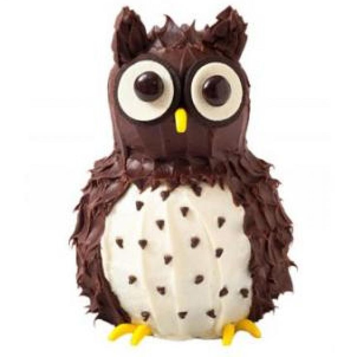 How to make an owl birthday cake with chocolate frosting and banana Runts - parenting.com