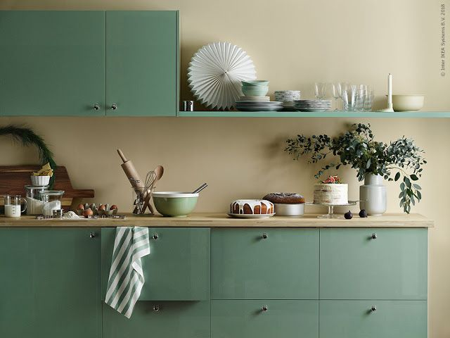 10 Ikea Holiday Kitchens Ideas To Steal Poppytalk Green Kitchen Cabinets Ikea Metod Kitchen Kitchen Cabinets
