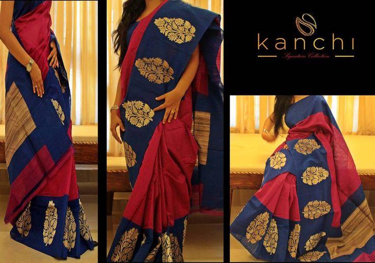 Pink khadhi saree with blue border.. Kanchi signature collection saree .. https://www.facebook.com/Kanchi-Signature-Collection-353807514697160/timeline/