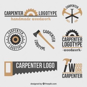 Set de logos bonitos retro de carpintería