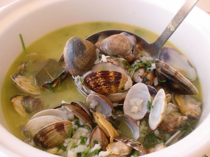Canja de amêijoas (Clam broth)  Served hot, this wonderful broth satisfies every clam lover.