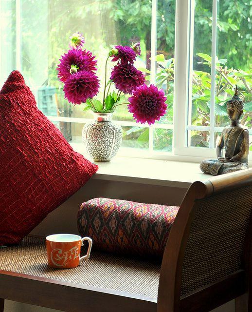 Shibori Cushion and Dahlias
