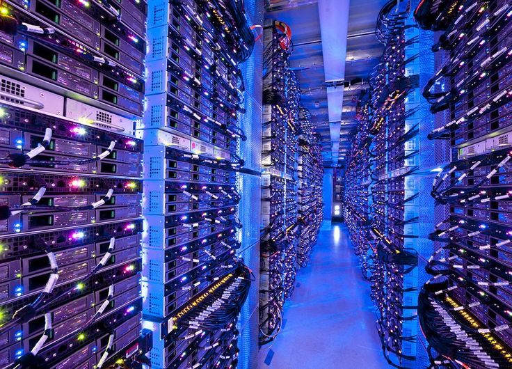 Hundreds of racks in the Microsoft Azure data center in Chicago. It has 162 sealed cargo containers of up to 2,500 computer servers each, plus thousands more servers in conventional racks.