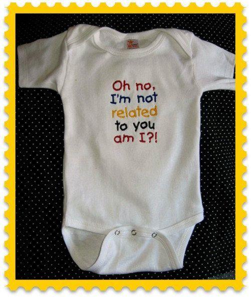 Cute funny baby saying onesie. $15.00, via Etsy.