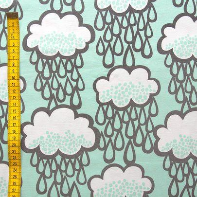 Sadepilvet-luomujersey, minttu / Rain clouds organic single jersey in mint / Käpynen