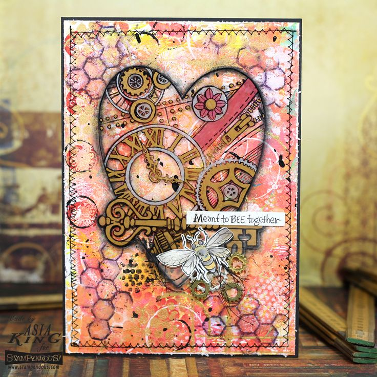 #cre8time with @stampendous and @decoart, #stampendous #decoartprojects Steampunk heart mixed media card by Asia King