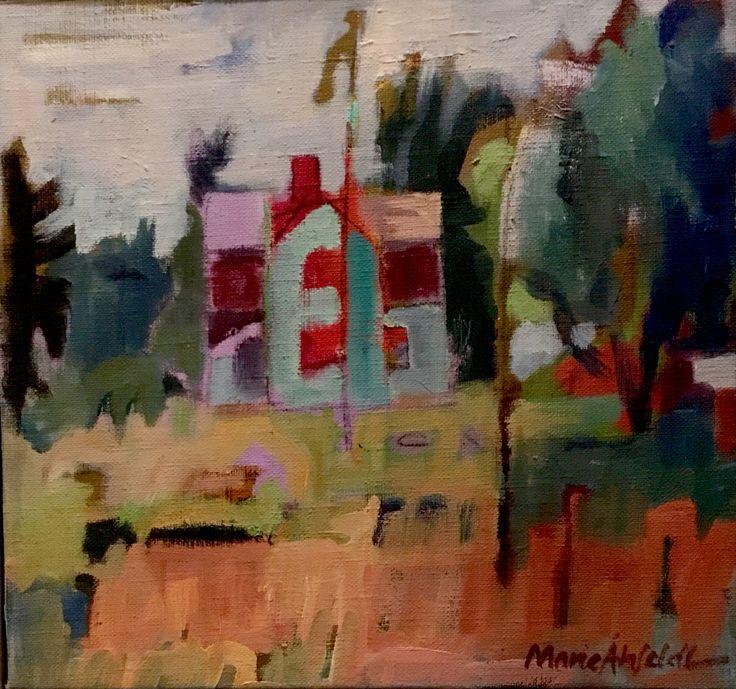 Ångermanland, Sweden. 30,5x29 cm + wood frame in gray 1,5 cm. Acrylic painting on canvas by Marie Åhfeldt, Mås Illustra. www.masillustra.se #painting #art #masillustra #house