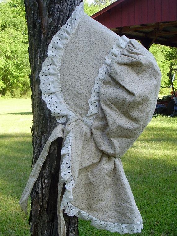 Reproduction Prairie Sun Bonnet Cotton Calico By Sarahbethscottage 40 00
