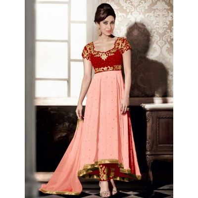 Unimaginable Wedding Designer Embroidery Peach Georgette Salwar Kameez