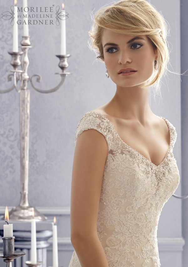 Wedding Gowns By Morilee Featuring 2672 Embroidered Appliques On A Net Bridal Gown With Crystal Beading