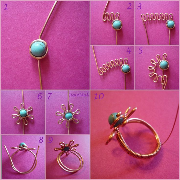 Flower wire ring #tutorial. Tons of other great wire tutorials too.