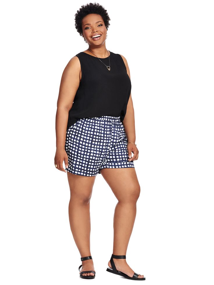 Grid Print Shorts In Night Navy by RD Style  Available in sizes 1X-3X
