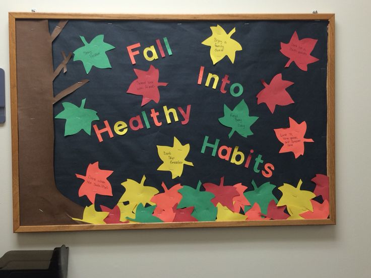 """Fall into healthy habits"" - our clinic bulletin board at the elementary :-)"
