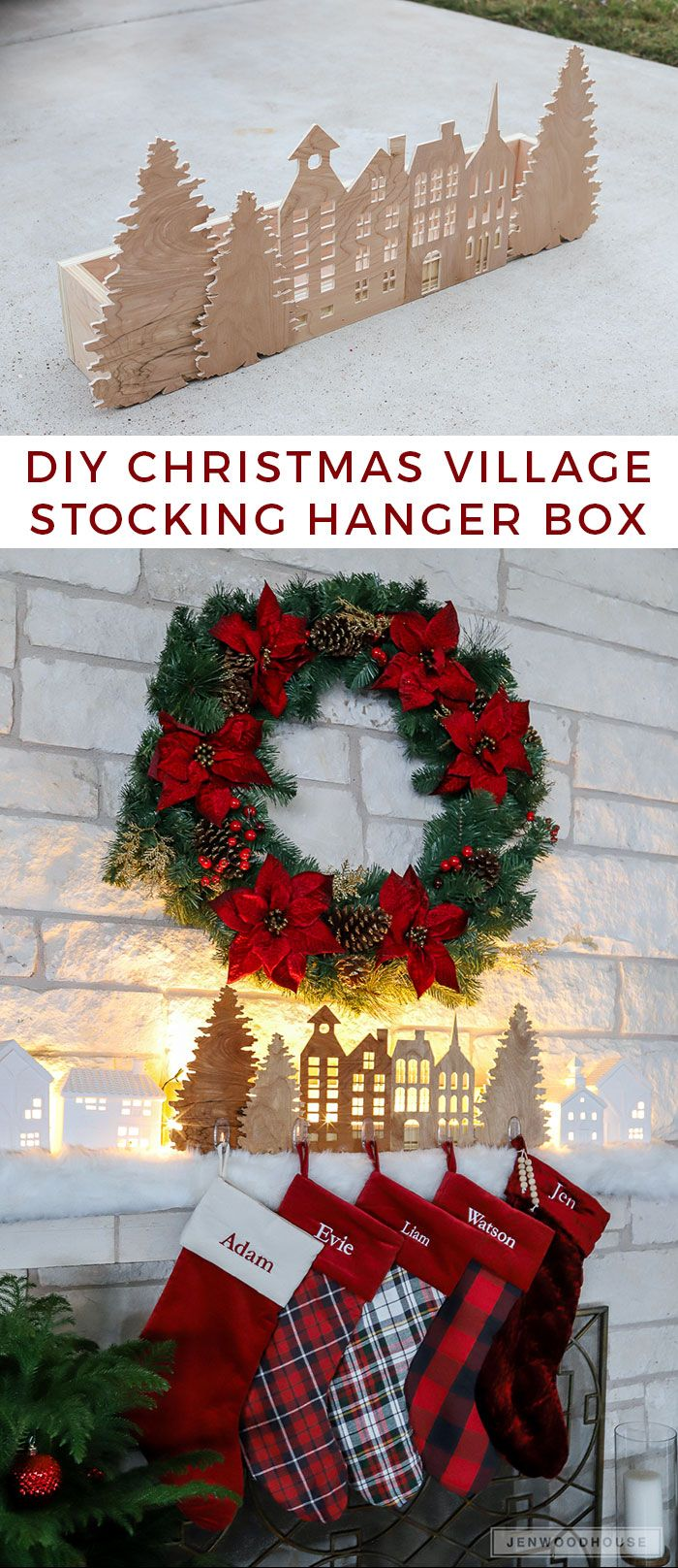 How to make a DIY Christmas village silhouette holiday stocking hanger box