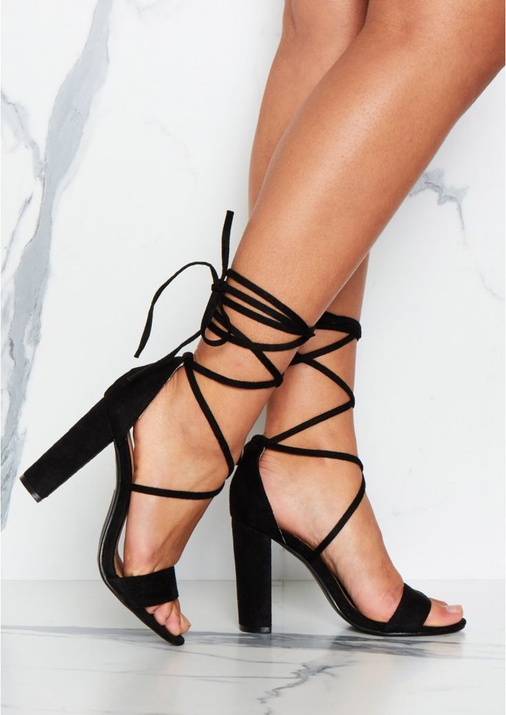 Lia Black Suede Tie Up Heels