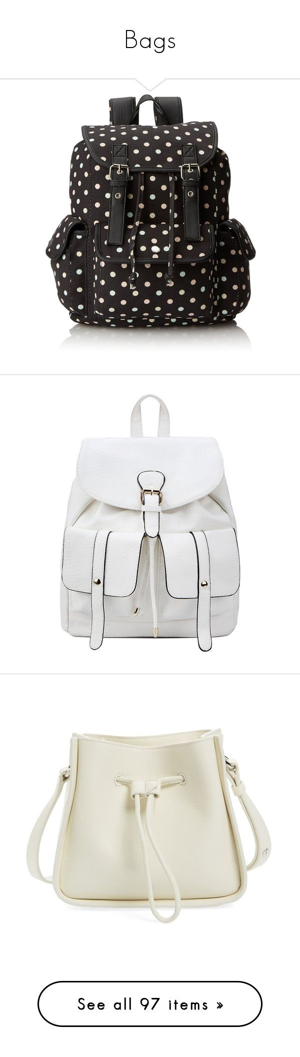 """""""Bags"""" by v-aldina on Polyvore featuring bags, polyvorecollection, polyvorefashion, backpacks, accessories, purses, backpack bags, polka dot backpack, colorful backpacks and rucksack bags"""