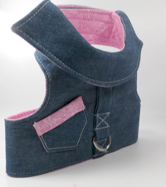 Denim Dog Harness Harness Vest Denim Dog Vest by LittleDogsCloset