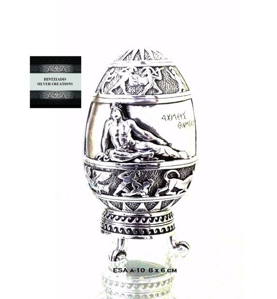 ACHILLES-GORGON'S HEAD. Handmade Silver Eggs. Collectible Art Objects. Silver Souvenirs. Ancient Greek Art.