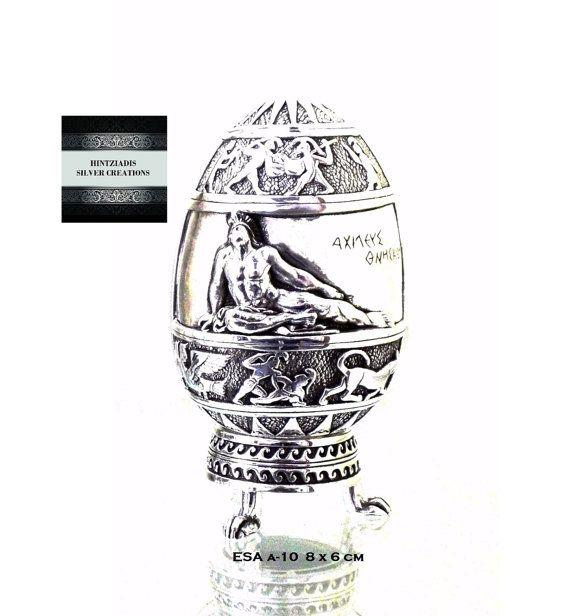ACHILLES-GORGON'S HEAD. Handmade Silver Eggs. Collectible Art Objects. Silver Souvenirs. Ancient Greek Art.