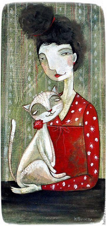 Маркиз и Люси (репродукция) - ярко-красный,дама,кот,картина в раме,печать на холсте