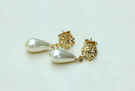 Pendientes de perla, pendientes de perlas de oro, aretes, pendientes, pendientes oro, aretes de Dama de honor, pendientes de perlas