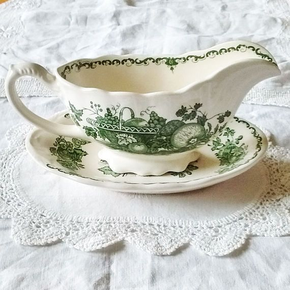 Mason's Ironstone Gravy Boat and Saucer with Green Fruit