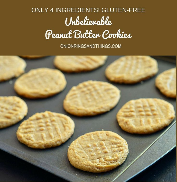 Unbelievable Peanut Butter Cookies made with only three ingredients and NO flour. These gluten-free cookies are so easy to make yet are so addicting with rich peanut butter flavor.