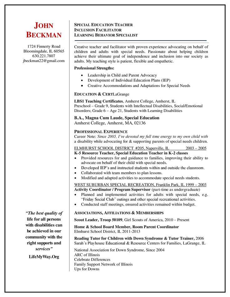 special education teacher resume sample Special