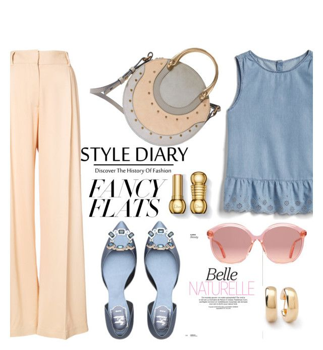"""""""chic in flats"""" by nataskaz ❤ liked on Polyvore featuring Ryan Roche, Gap, Chloé, Ippolita, Gucci and chicflats"""