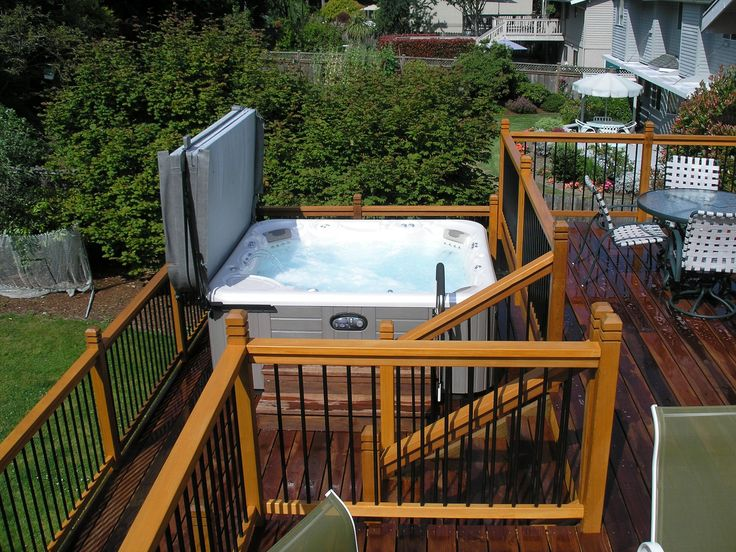 17 best images about outdoor on pinterest bike storage for Free standing hot tub deck