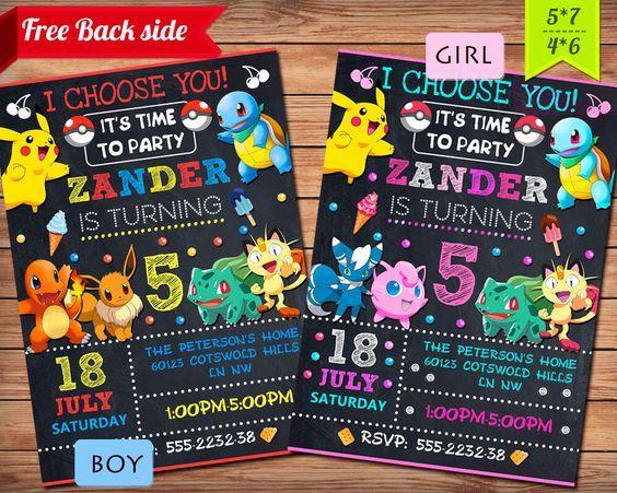pokemon birthday invitations printable